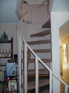 Private spiral staircase to Suite